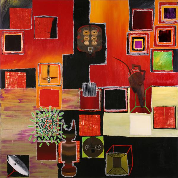 La casa de las máscaras. 2006. Acrílico sobre tela.200 x 200 cms.