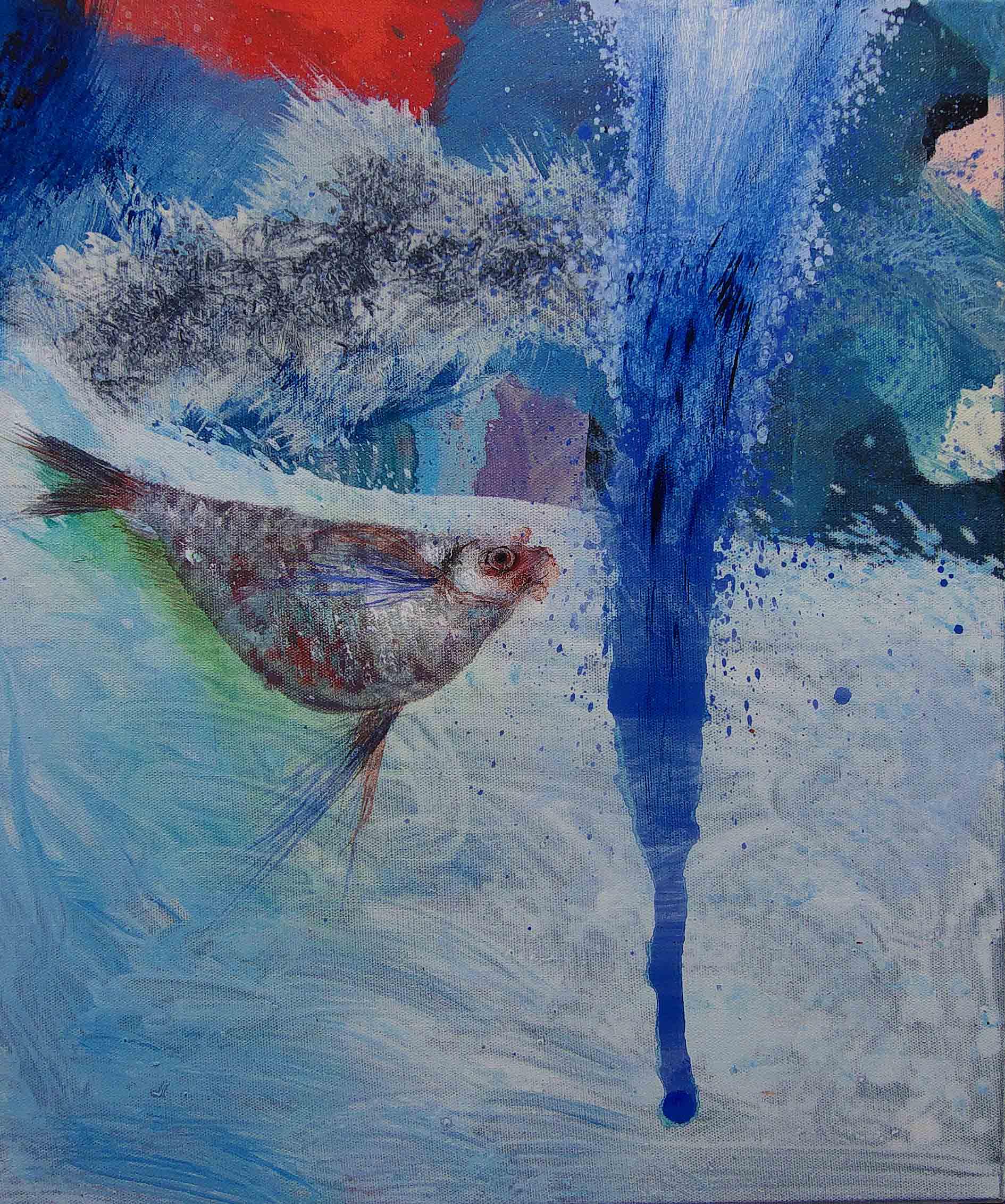 Agua. 2015. Acrílico,óleo sobre tela. 55 x 46 cm