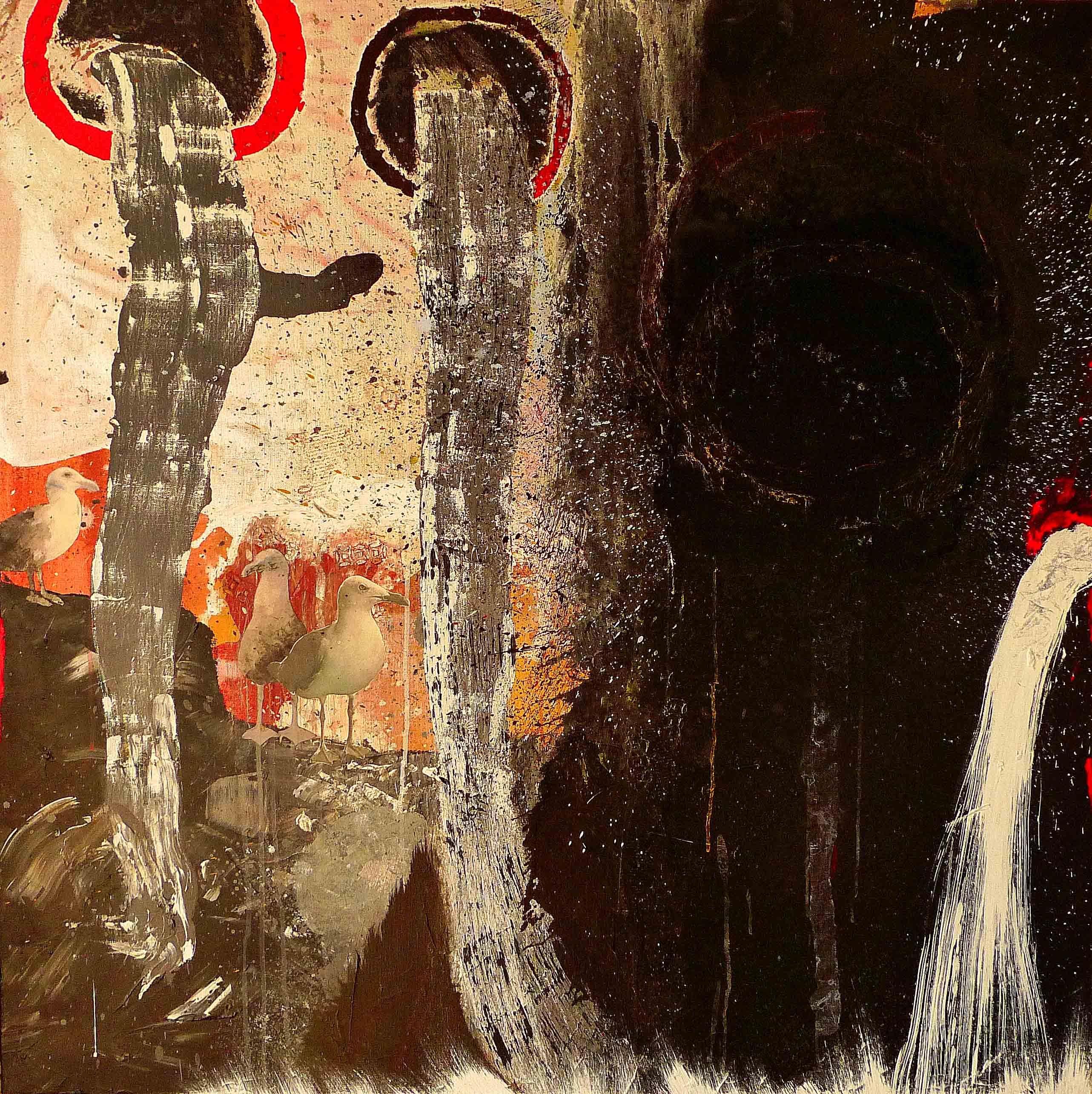 Naturaleza muerta con gaviotas. 2015. Técnica mixta sobre tela. 100 x 100 cm .