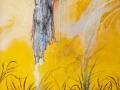 Después de la lluvia. 2016. Collage, acrílico y óleo sobre tela. 100 x 100 cm.
