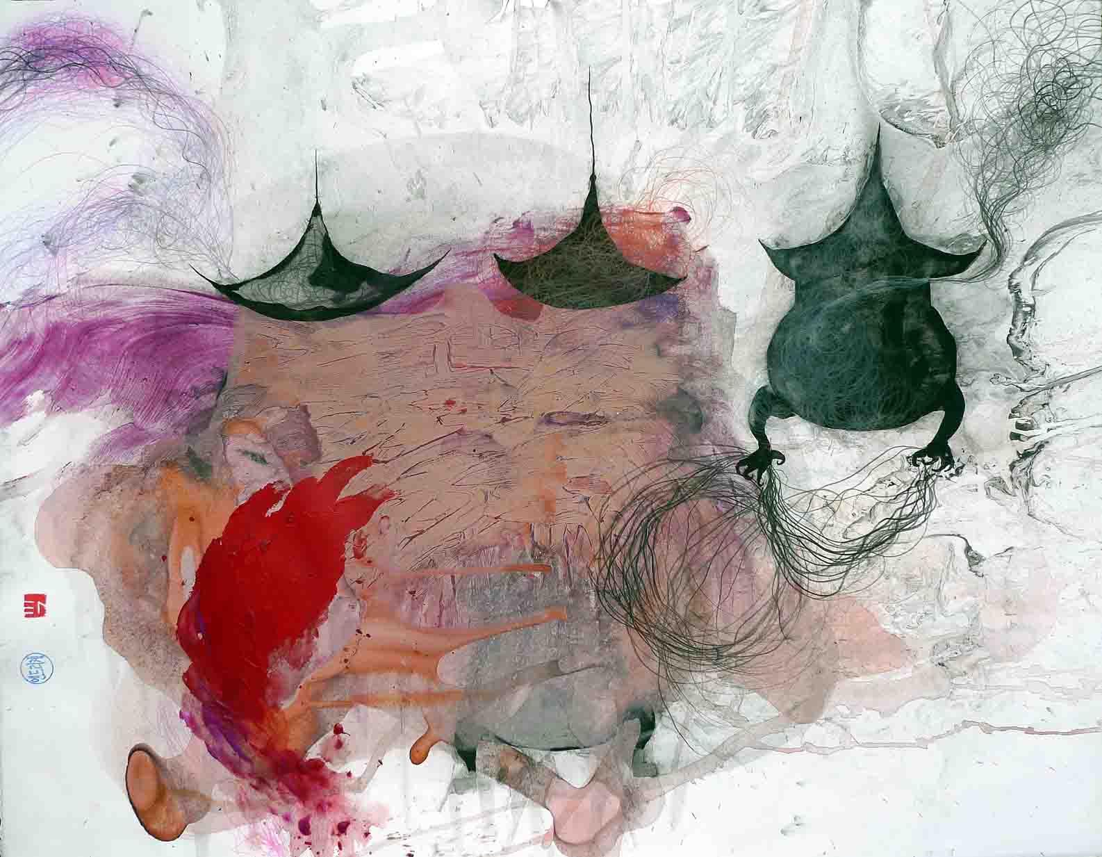 Incienso. 2010. Técnica mixta sobre papel. 51 x 65 cm .