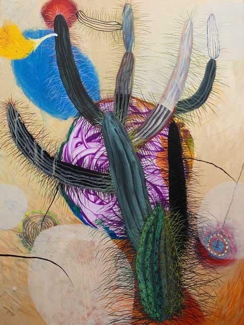 DARWIN O EL EXTASIS DEL CACTUS.2007.óleo y acrílico sobre tela.116 x 89 cms.