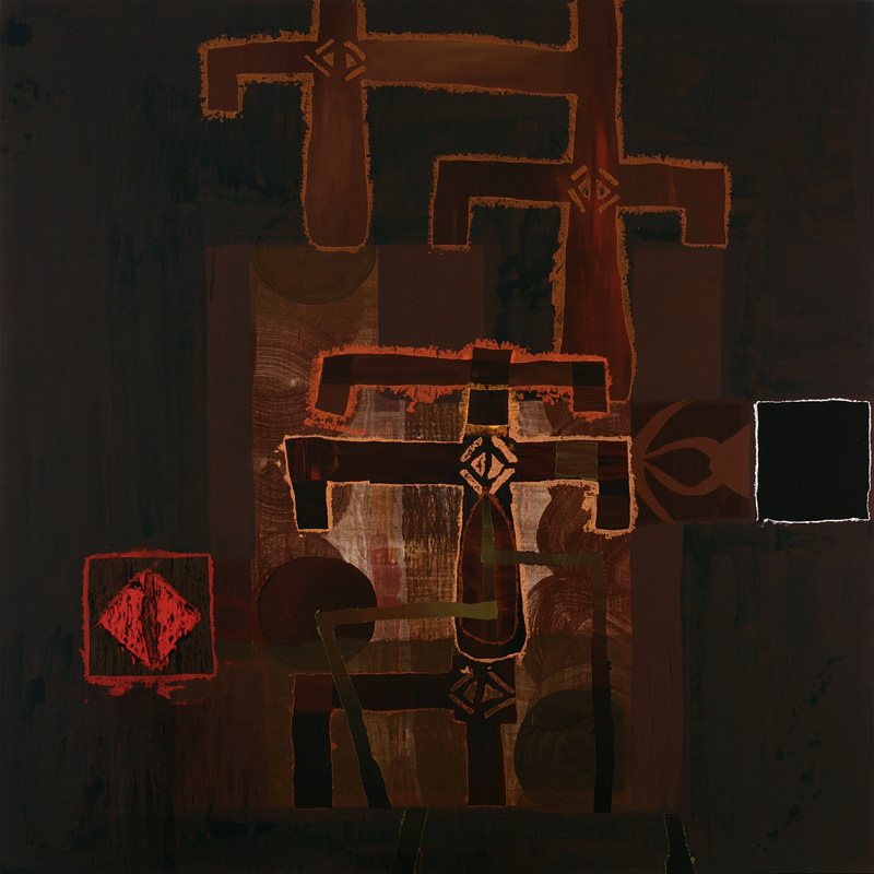 Los dioses del baobab.2006.acrílico sobre tela.180 x 180 cms