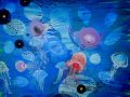 """Mundo medusa""  2020. Técnica mixta sobre tela de lino. 146 x 114 cm."