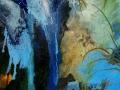Paisaje de agua. 2016. Acrílico, óleo y collage sobre tela. 100 x 100 cm .