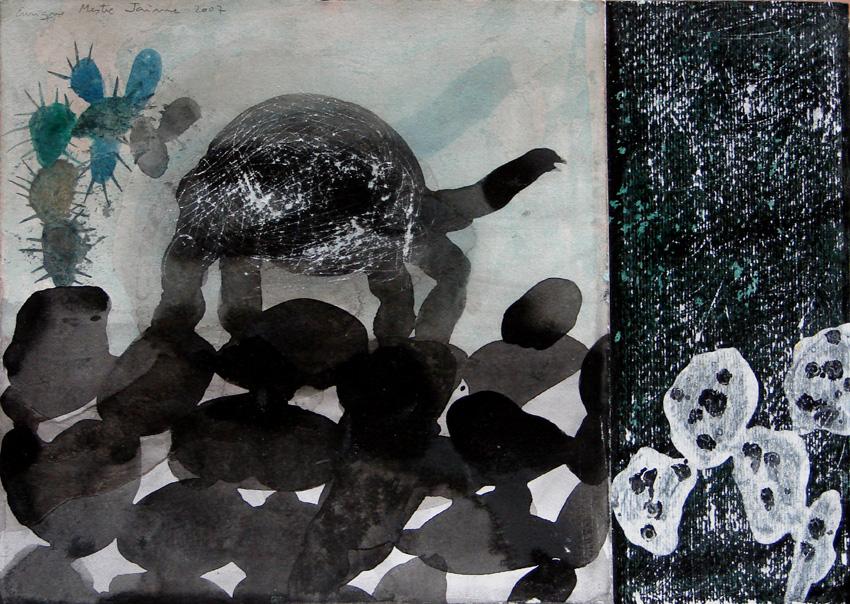 La Prehistoria es de lava. 2007. Técnica mixta sobre papel.30 x 42 cms.