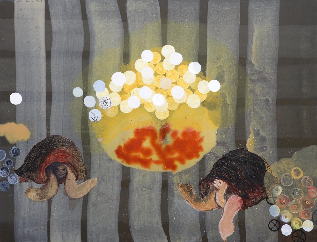 Reproducción asistida o nido nº2. 2008. Técnica mixta sobre tela. 116 x 89 cms.
