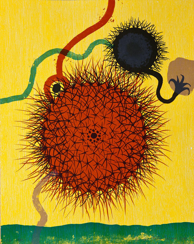 """""""Cactus""""  2011.  Litografía a la piedra a 5 tintas."""