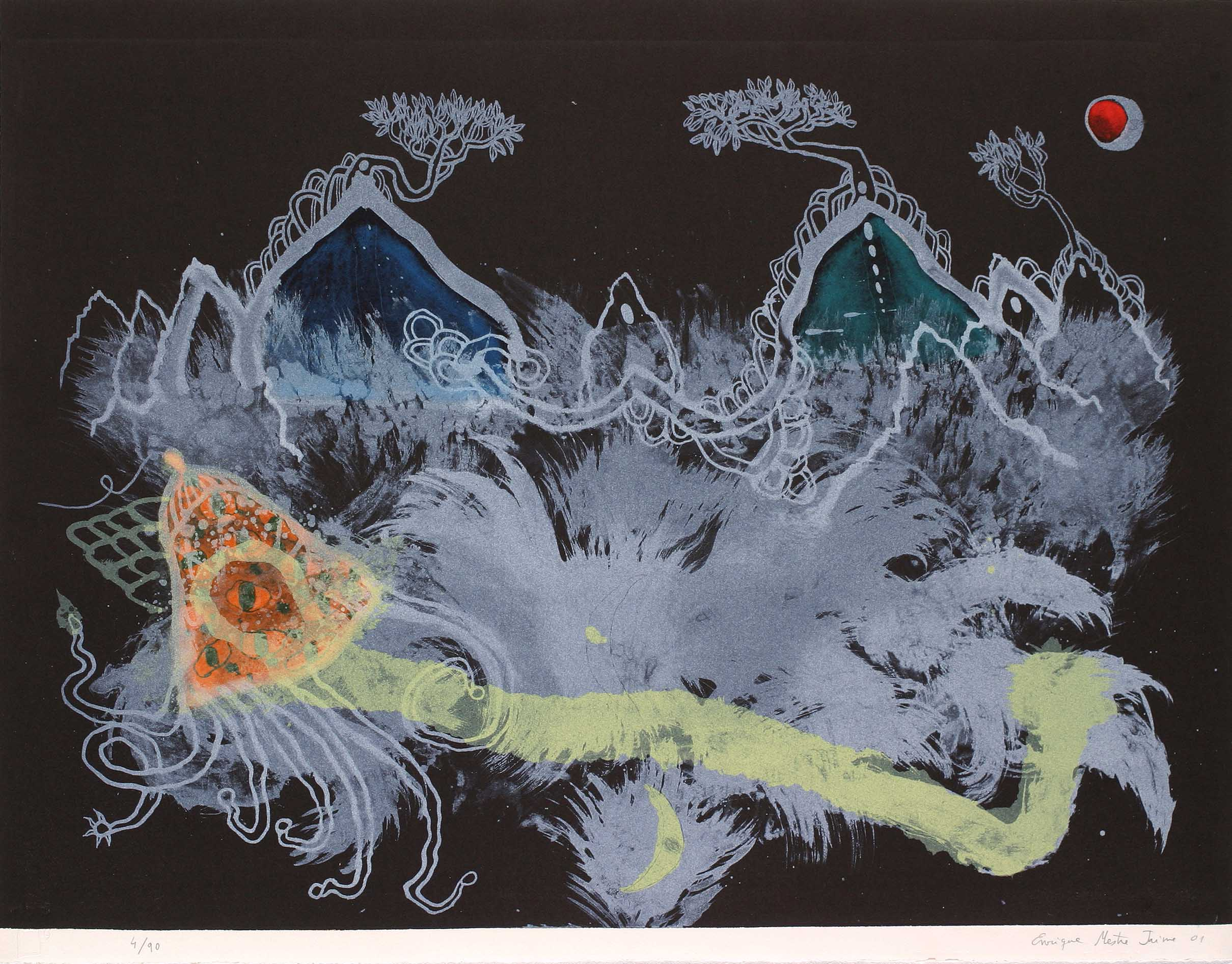 La-noche-Caribe-quiere-ser-medusa.2001.-Litografía-en-piedra-a-8-tintas.-63-x-81-cm.-Edición-de-90-ejemplares-.-.