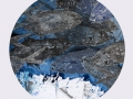 """""""El océano"""" 2017. Técnica mixta sobre papel. 50 cm diámetro."""