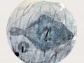 """""""Fondo marino"""" 2017.  Técnica mixta sobre papel encolado. 50 cm diámetro."""